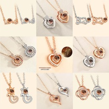 Double Heart Pendant Necklace Women Personalized Projection 100 Languages I Love You Stainless Steel Chain Jewelry Bff