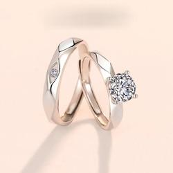 S925 серебряное кольцо из циркона обручальное кольцо светильник класса люкс Шесть-коготь бриллиантовое кольцо 925 пробы серебряные ювелирные ...