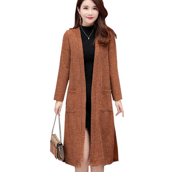 Women New Spring Autumn Vintage Knitted Sweater Plus Size 5XL Long Cardigan Sweater Female Casual Thick Cardigan Coat OK125 fat mm sweater 2017 autumn winter the new fashion loose cardigan hooded thick knitting casual ms sweater coat m 5xl plus size a