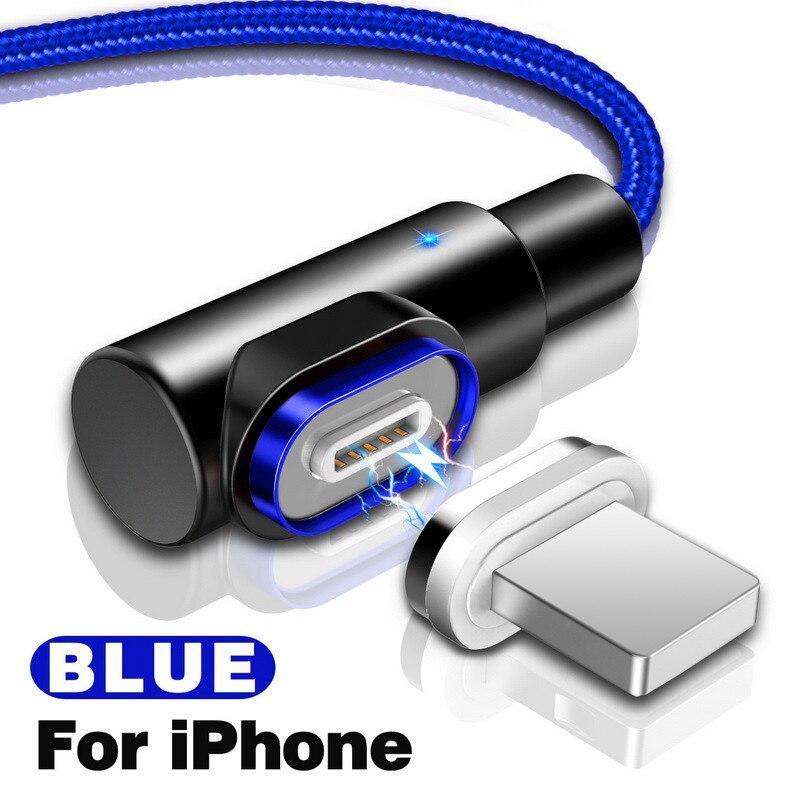 GETIHU 2.4A Быстрый Магнитный кабель для iPhone XS X XR 7 Micro USB быстрое зарядное устройство Тип C магнит Android шнур телефонный кабель для samsung - Цвет: For iPhone Blue