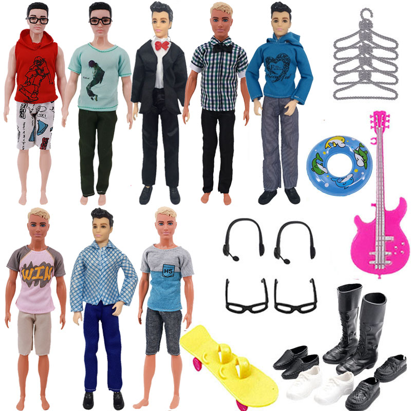 30Pcs/Set Ken Doll Clothes FreeShipping Glasses Shoes Hangers Guitar Skateboard Headsets Accessories For Barbies Girl`s Toy DIY