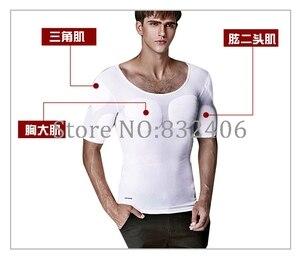 Image 3 - Pecs kas yelek erkekler yastıklı vücut şekillendirici erkek vücut geliştirme T Shirt karın iç çamaşırı bira göbek tankı üstleri