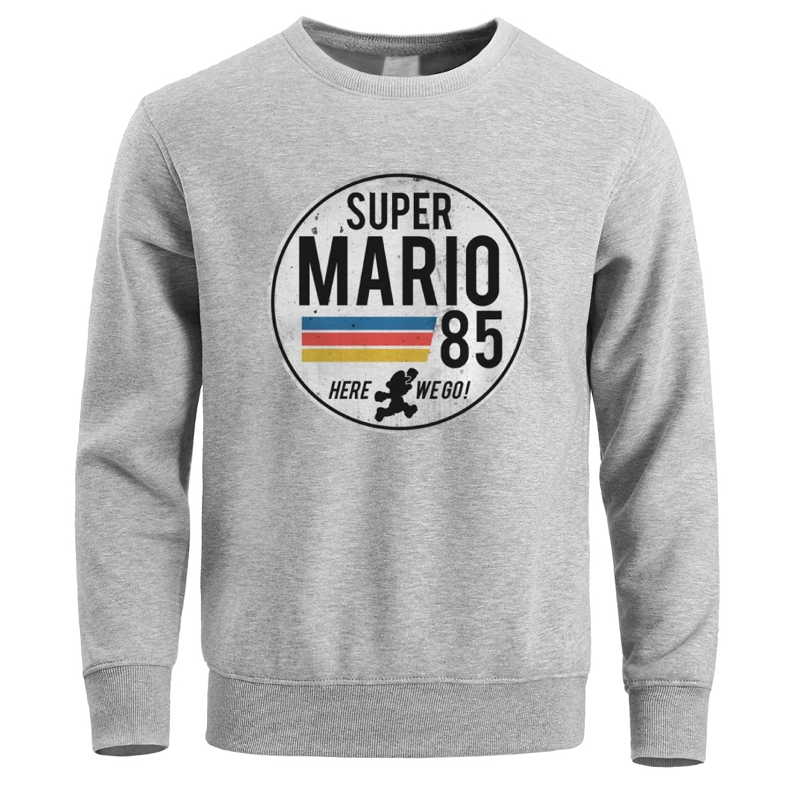 Super Mario 85 Sweatshirt Men Crewneck Hoodies Sweatshirts Winter Fleece Warm Mens Pullover Hoodie Black White Streetwear Hoody