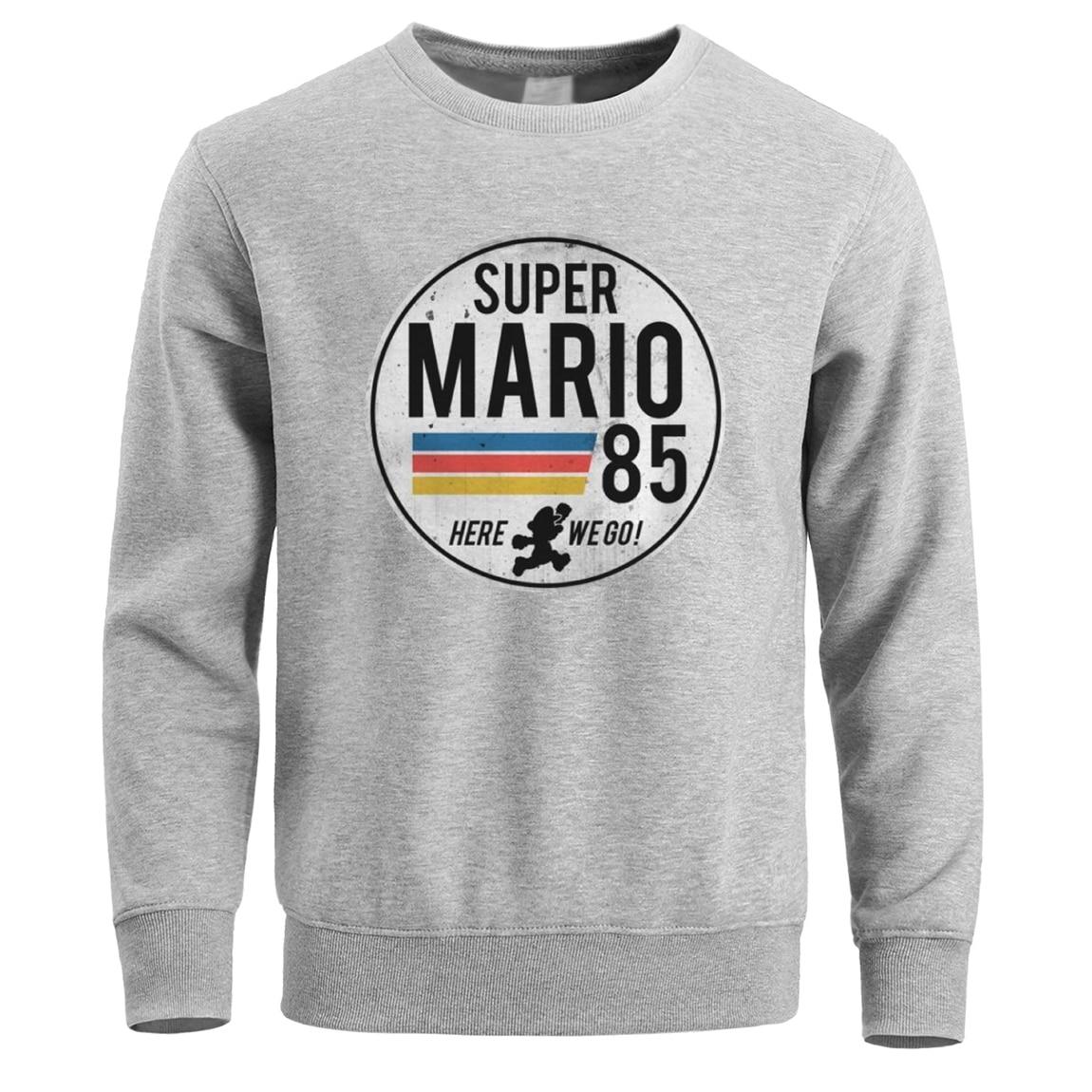 Super Mario 85 Sweatshirt Men Crewneck Hoodies Sweatshirts Winter Fleece Warm Mens Pullover Hoodie Black White Streetwear Hoody