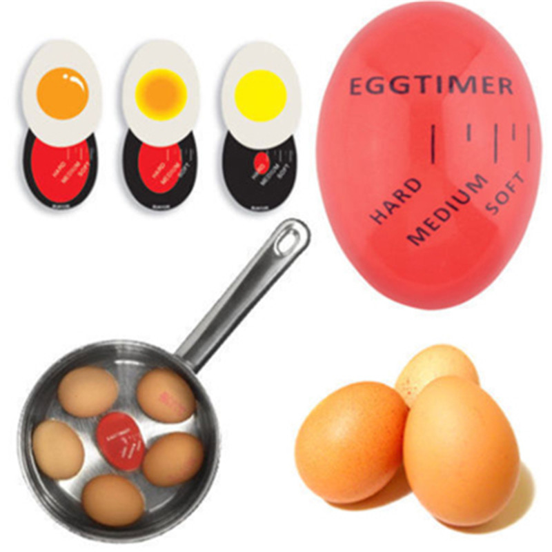 1pcs Egg Perfect Color Changing Timer Yummy Soft Hard Boiled Eggs Cooking Kitchen Eco-Friendly Resin Egg Timer Red timer tools 1