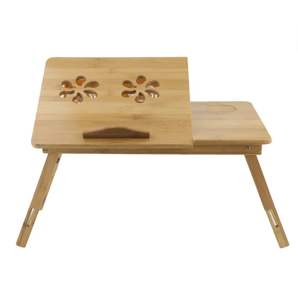 Foldable Portable Bamboo Computer Stand Laptop Desk With/Without Fan Tea Serving Bed Dining Table Laptop Notebook Table