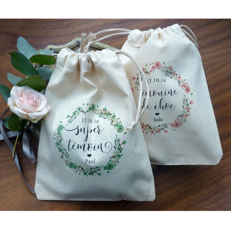 10pcs Cotton Wedding Hangover Kit Bags For Hen Parties Personalised Bachelorette Recovery Kit Party Favor Gift Bags Bridal Pouch