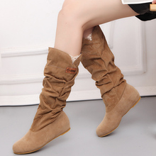 Women Fur Knee High Boots Fashion Flock Plush Padded Winter Snow Boots Casual Flat Heels Lace Warm Black Brown Long Boots Ladies