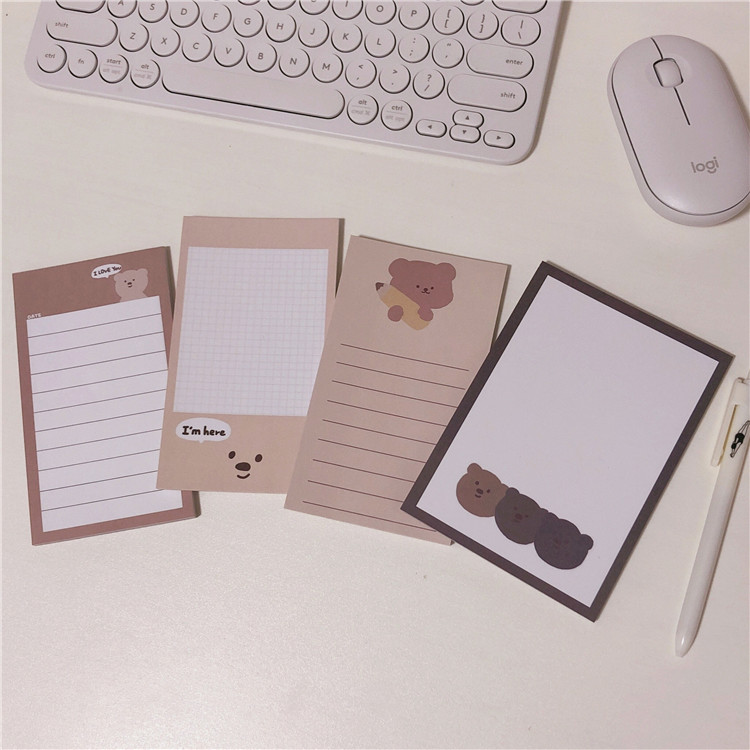 50 sheets super cute bear memo pad message note paper planner stickers to do list diary notebook diy kawaii school stationery