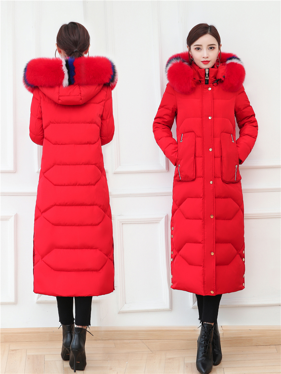 Winter Luxury Fox Fur Down Jacket Women Thick Warm Clothes 2019 Elegant X-Long Duck Down Coat Female Overcoat Hiver 9003