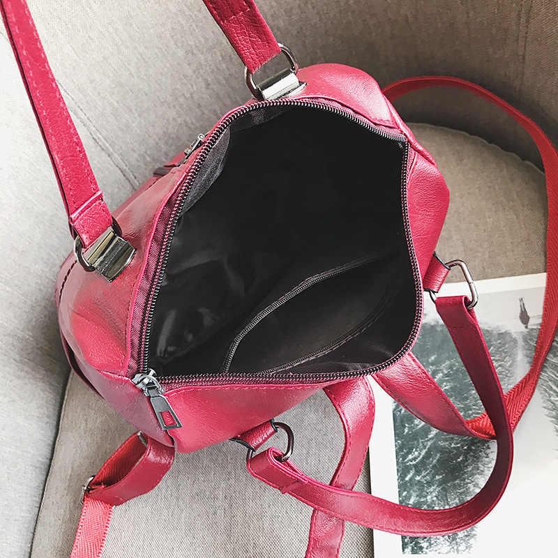 3-In-1 Wanita Kulit Ransel Vintage Wanita Tas Bahu Sac Dos Perjalanan Wanita Bagpack Mochilas Sekolah tas untuk Girls Rapi