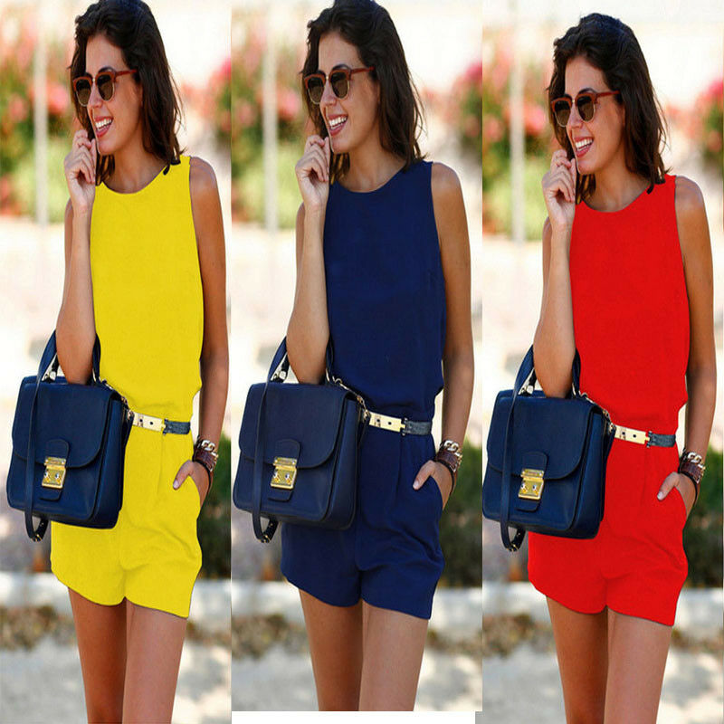 Solid Color Casual Jumpsuits For Women 2020 New Loose Casual Sleeveless Round Neck Jumpsuit Pocket Playsuit Combinaison Femme