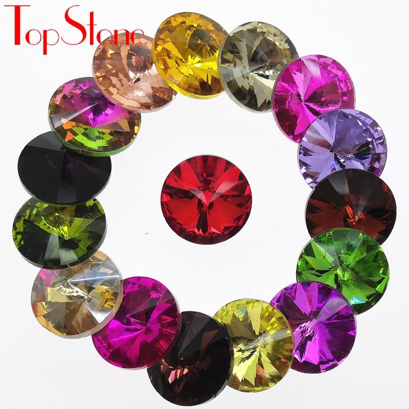 TopStone, все цвета, 6,8,10,12, 18 мм, RIVOLI, заостренные с обратной стороны стразы, круглые стеклянные кристаллы, Необычные камни