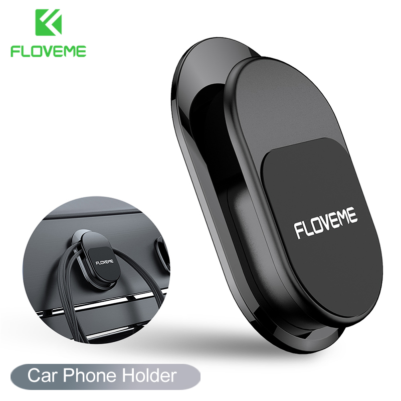 FLOVEME Mini Magnetic Phone Holder 3Pcs Set Car Clips USB Cable Organizer Storage Car Hook Car Sticker Holder Phone Accessories