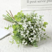 Artificial Eucalyptus Gypsophila Bundle Plastic Flower Home Decoration Fake Flowers Green Plants Wedding Bouquets