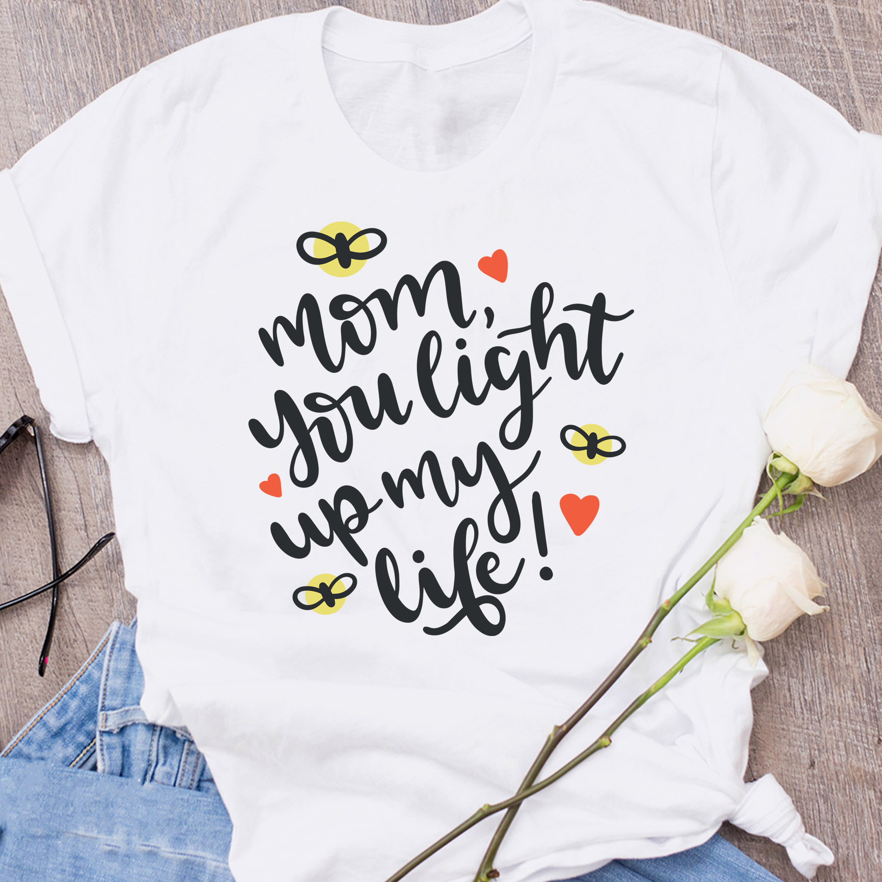 Mom you light up my life mother days gift slogan cotton casual slogan mother days gift t shirt heart graphic young tees art tops image