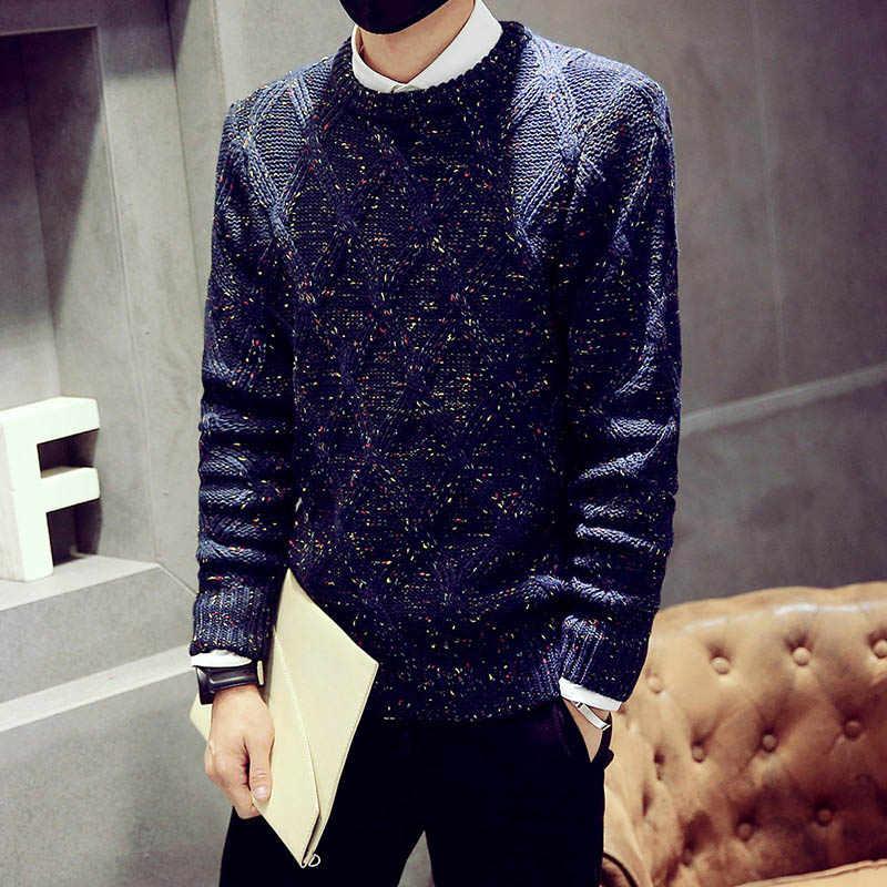 Suéter de moda Casual ajustado nuevo suéter para hombre ropa de calle para hombre jerseys de punto de manga larga de invierno grueso cuello redondo R