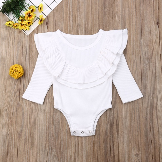 Ribbed Solid Long Sleeve Bodysuit -White-