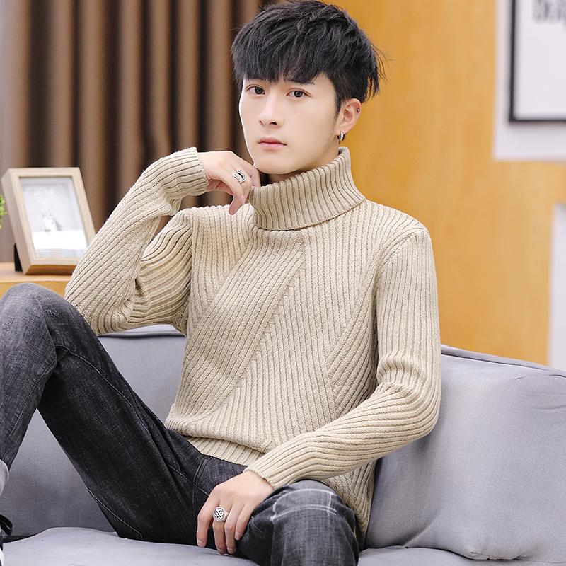 High Neck Knit Sweater For Men's Striped Jumper Slim Fit Sueter Hombre Turtleneck Men Tops Pullovers Fashion Yellow Blue