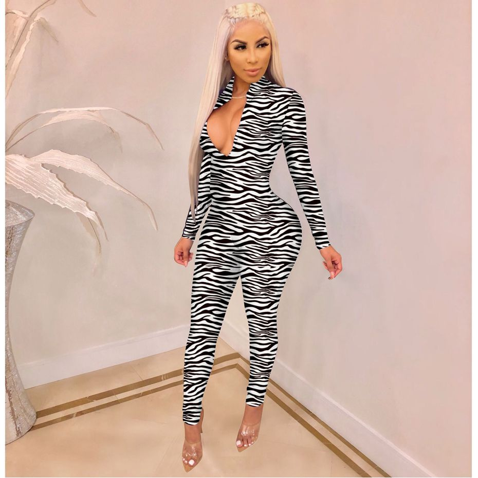 HAOYUAN Zebra Fire Print Sexy   Jumpsuit   Autumn Rave One Piece Outfit Long Sleeve Body Overalls Bodycon Rompers Womens   Jumpsuit