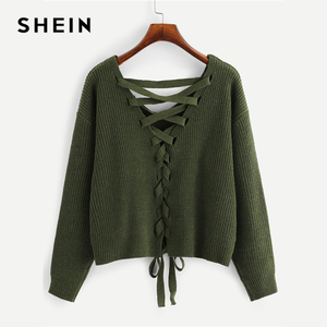 Image 2 - SHEIN Army Green Lace Up Back Drop Shoulder Sweater Pullover Women Autumn Winter Long Sleeve V Neck Casual Ladies Solid Sweaters