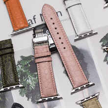 Round Grain Crocodile Watch Band Suitable for Apple Watch Bracelet    iwatch Series 5 4 3 2 Leather Strap 38mm 40mm 42mm 44mm zlimsn crocodile leather watch band quick installation mens women luxury strap size 12mm 26mm suitable for apple 38mm 42mm watch