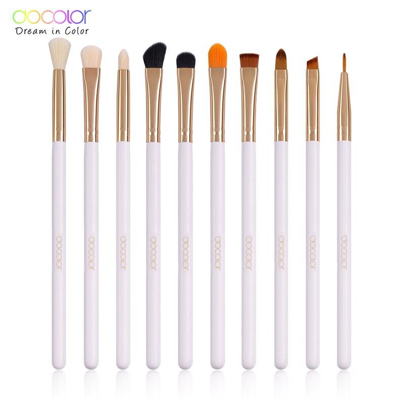 Docolor 4 10PCS Eye Makeup Brushes Set Eyebrow Eyeline Eyeshadow Brush Blending Lip Large Eye Shadow Make Up Brushes Cosmetic in Eye Shadow Applicator from Beauty Health