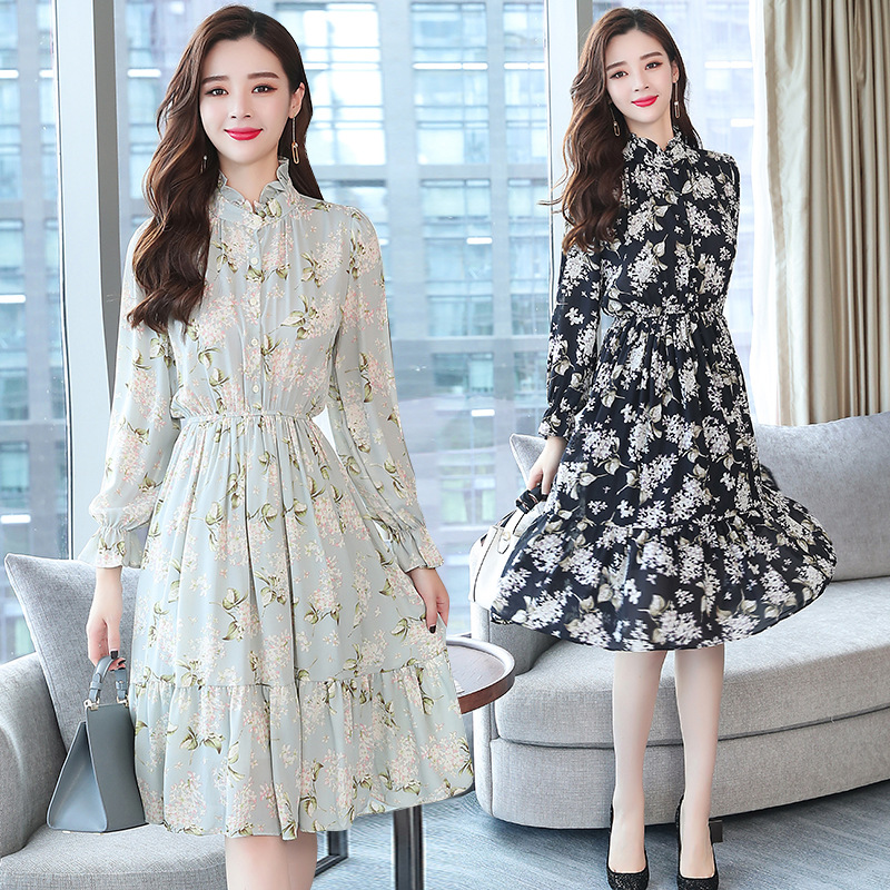 2018 Autumn New Style WOMEN'S Dress Slim Fit Slimming Ladies' Elegant Mid-length Stand Collar Long Sleeve Floral-Print Chiffon D