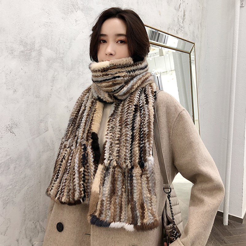 YCFUR Luxury Women Scarves Shawls Winter Knitted Natural Mink Fur Scarf For Ladies Thick Real Fur Long Wide Scarf Wrap Female