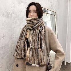 YCFUR de lujo para mujer bufandas chales de invierno tejidas de piel de visón Natural bufanda para señoras gruesa de piel Real bufanda larga ancha para mujer
