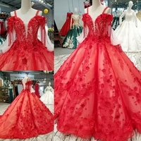 Luxurious Red Lace Embroidery Big Skirt Wedding Dress Bridal Gown