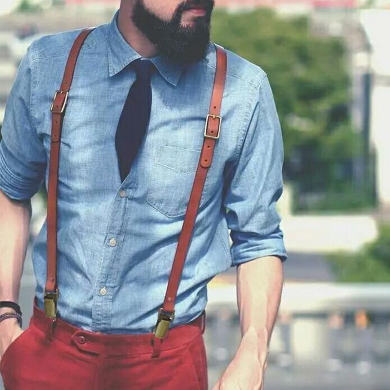 British Style 3 Clips Mens Suspenders Vintage Adjustable Cowhide Cowboy Genuine Leather Suspender Bronze Strap Pant Braces