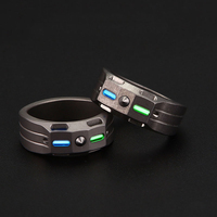 Titanium alloy ring tritium tube luminescence 50 year protection ring multifunctional EDC anti wolf protection supplies