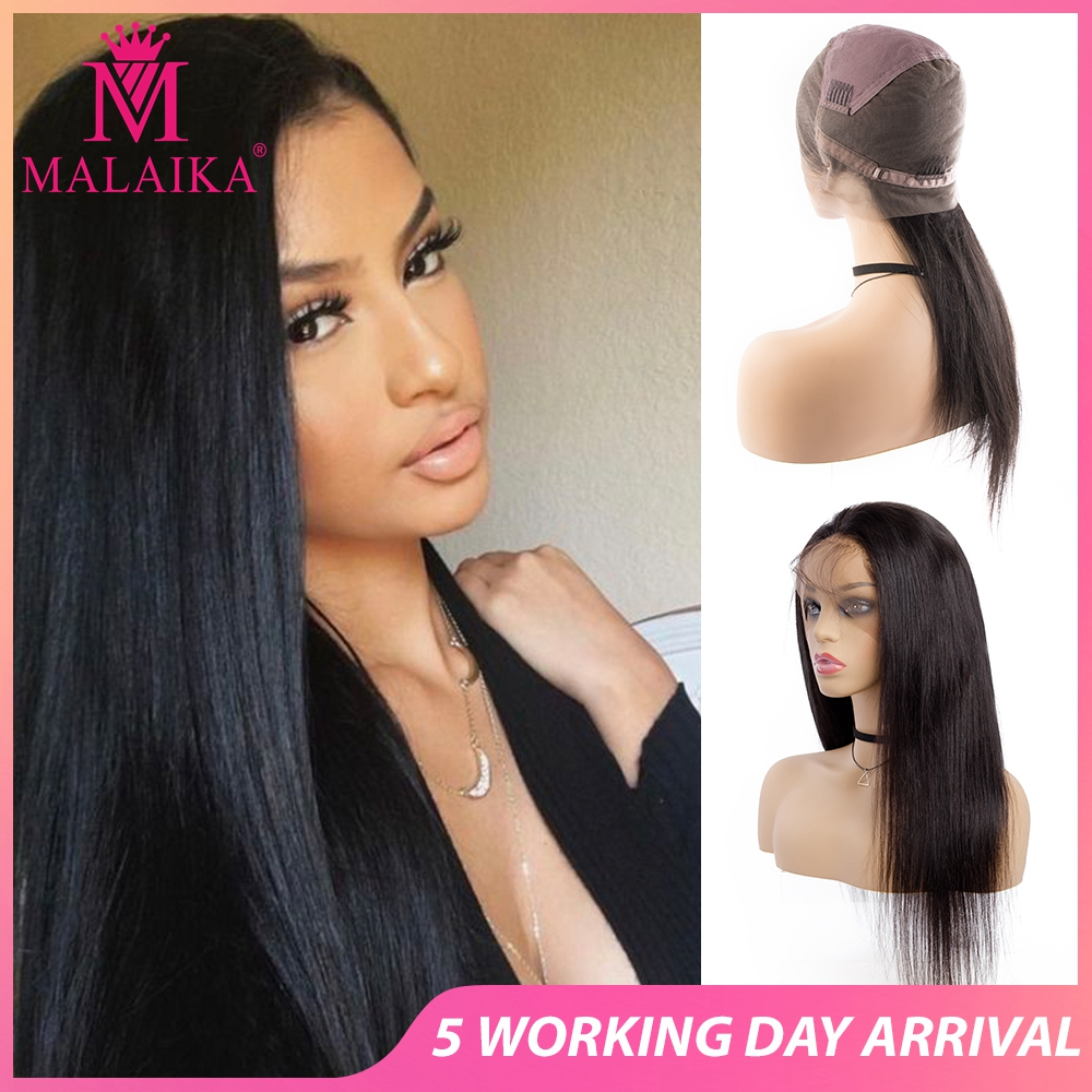 MALAIKA Hair Christmas Full Lace Human Hair Wigs 12-28 Inch Brazilian Straight Hair Natural Color 100% Human Hair Wigs