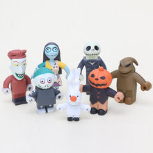 7 pçs/set Anime Nightmare Before Christmas, Henry Selick Argila Animação Jack Sally PVC Coleção Toy Presentes do Dia Das Bruxas(China)