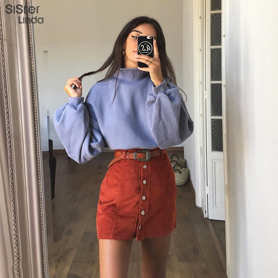 Sisterlinda Fashion Elegant Solid Summer Skirt Women High Waist Single-breasted A-small Skirts Mujer 2019 Slim Party Mini Skirt