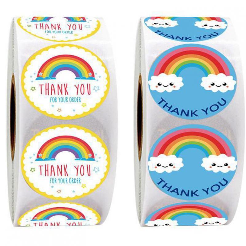 500 шт. хлопковые голубые джинсы, Спасибо наклейки милый солнце Радуга стикер с облаками для украшения ручной работы, подарок этикетки декора...