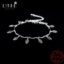 цена на New Fashion Leaves Pendant Anklets Beach Foot Chain 925 Sterling Silver Leaf&Heart Charm Anklet Bracelet For Women Jewelry Gift