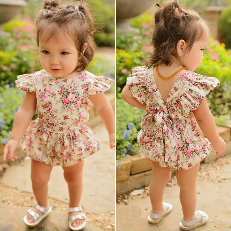 Emmababy Newborn Baby Girl Ruffle Floral Printed Fashion Lovely Bodysuit Jumpsuit Sunsuit Outfits Clothes