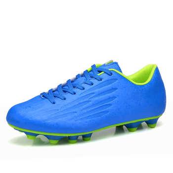 Gorące buty sportowe na świeżym powietrzu mężczyźni buty piłkarskie FG buty do futsalu dla mężczyzn niebieski PU skóra miękka Spike Sneakers mężczyźni chaussure de sport tanie i dobre opinie QIWN CN (pochodzenie) Twarda nawierzchnia (FG) korki Średnia (B M) CD1612 Soccer Shoes RUBBER Sznurowane ELASTYCZNE Cotton Fabric