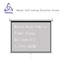 Thinyou 84 inch 4:3 Auto Self-Locking Screen Matte Gray Fabric Fiber Glass Gain Manual Pull Down for home business