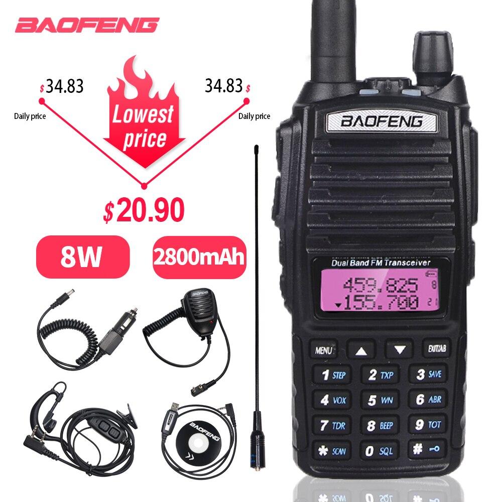 Baofeng UV-82 Walkie Talkie 8W 2800mAh Dual Band Handheld Two Way Ham Radio UV-82hp Hunting FM Transceiver Amateur Communicator