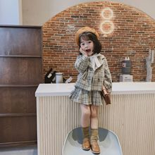 цена на New autumn children clothing  sweet plaid long-sleeved blazer+short-section pleated skirt  two pieces set suit for girls