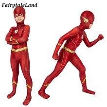 Crianças 3d impressão a temporada flash 6 barry allen cosplay traje carnaval halloween crianças super-herói zentai terno meninos macacão