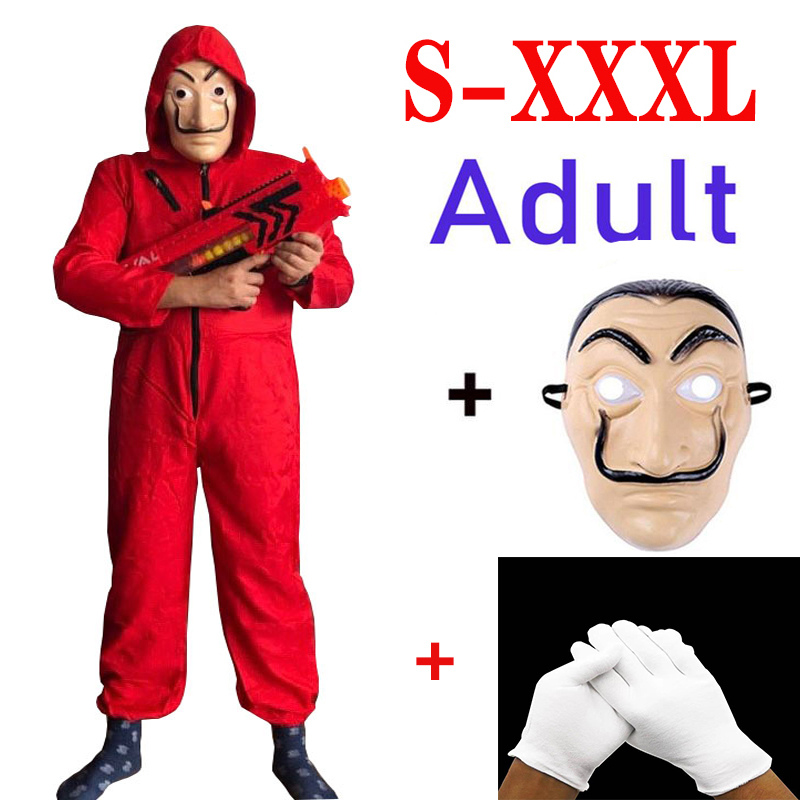 S-XXXL Salvador Dali La Casa De Papel Costumes And Masks Cosplay Paper House Cosplay Party Adult Role Playing Money Rescue