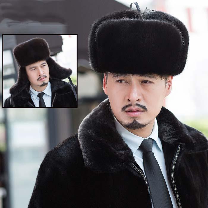 Suede Hat Male Models Mink Fur Hat Middle-Aged Fur Hat Lei Feng Hat