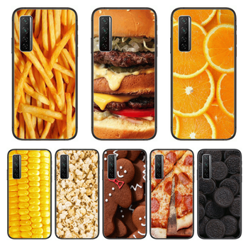 Food Hamburger French fries Phone Case For Huawei Nova p10 lite 7 6 5 4 3 Pro i p Smart ZBlack Etui 3D Coque Painting Hoesje image