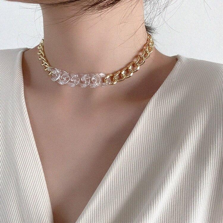 HUANZHI-2020-New-Korea-Chic-Transparent-Acrylic-Acetate-Silver-Color-Metal-Link-Chain-Necklace-Short-Choker