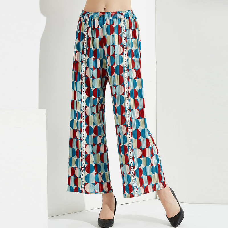 Wholesale Plus Size Pants 2019 Autumn Women's Fashion Printed Big Stretch Miyake Pleats Elastic Waist Straight Pants Full Length