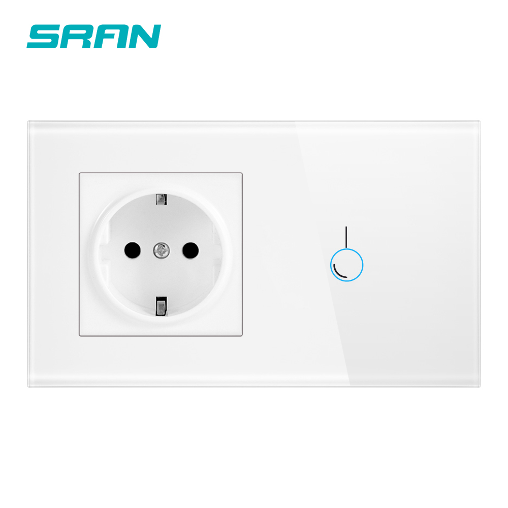 SRAN dokunmatik sensör anahtarı soket ile kristal cam panel 170 ~ 250V 16A 146*86 duvar soketi işık anahtarı 1Gang 1way
